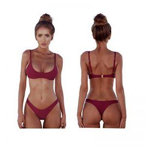 2018 Womens Sexy couleur unie bikini brésilien ensemble - Triangle String Soft rembourré fendue bikini ensemble de maillot de bain 2 pièces de la marque Waroom image 0 produit