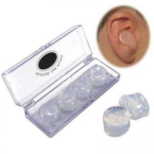 4pcs de natation en silicone Bouchons d'oreille doux confortable haute qualité Aid Réduction de bruit de sommeil avec boîte de rangement/couleur transparente de la marque Hayatec image 0 produit