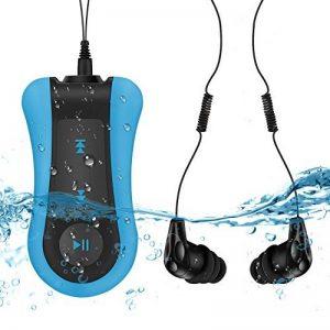 AGPTEK S12E Lecteur Mp3 Etanche, Version nouvelle Mp3 Waterproof 8Go IPX8 pour Natation(piscine) et Sports, Bleu de la marque image 0 produit