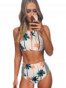 Blooming Jelly Femmes Coconut Tree Print haute taille bikini Set maillot de bain de la marque Blooming Jelly image 0 produit