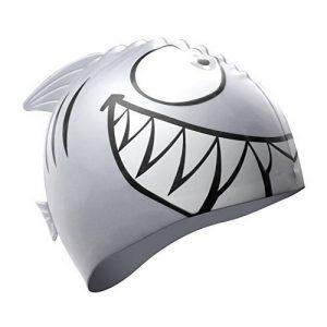 Bonnet de Bain en Silicone Enfant Imprimé Requin Bonnet de Bain Etanche Parfait pour Natation et Autre Sports Nautiques Natation(Gris) de la marque image 0 produit
