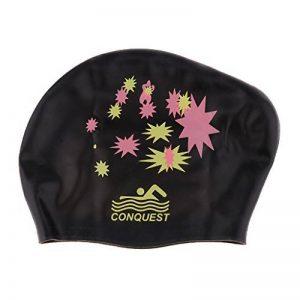 Bonnet de Bain Silicone Etanche Natation pour Longs Cheveux Epais - Taille Unique , Noir de la marque image 0 produit