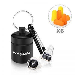 Bouchons d'oreilles NASUM 27 dB anti-bruit SNR Noir Grande avec trois éponges bouchons d'oreille Idéal pour la musique, concert, Disco et Festival avec réservoir en aluminium Transparent de la marque NASUM image 0 produit