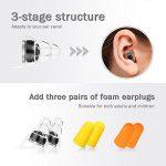 Bouchons d'oreilles NASUM 27 dB anti-bruit SNR Noir Grande avec trois éponges bouchons d'oreille Idéal pour la musique, concert, Disco et Festival avec réservoir en aluminium Transparent de la marque NASUM image 2 produit