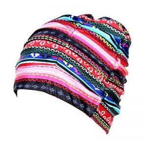 Butterme natation Cheveux longs bonnet plissé Tissu Tissu Bain Chapeaux Lycra Bonnet Bonnet de bain pour adultes Hommes Femmes de la marque image 0 produit