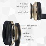 Casque Bluetooth sans Fil sur L'oreille, JIUHUFH Wireless Ecouteur con Mic, Doux Cache – Oreilles de Mémoire – Protéine pour Android, iPhone, Tablet (Or) de la marque image 3 produit