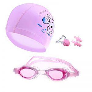 Crivers Cartoon-style Natation Ensemble de masque, lunettes de natation Bonnet de bain avec gratuit Pince-nez et bouchons d'oreille pour enfants, enfants, étudiants, garçons et filles de la marque image 0 produit