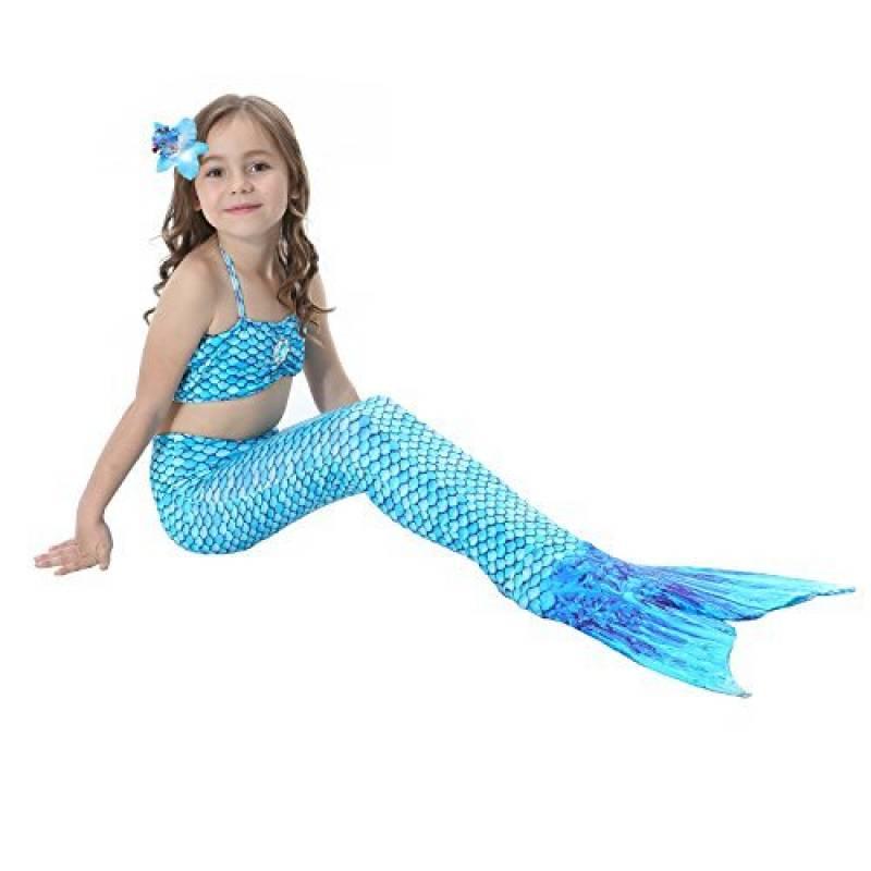 19bf05eb6b DAXIANG 3 Pièces Maillot de Bain Princesse Queue de Sirène Mermaid Bikini(Il  y a la boucle au bas de la queue,pouvez ouvrir pour marcher ou fermer pour  ...