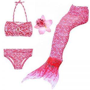 DAXIANG 3 Pièces Maillot de Bain Princesse Queue de Sirène Mermaid Bikini(Il y a la boucle au bas de la queue,pouvez ouvrir pour marcher ou fermer pour ajouter monopalme) de la marque DAXIANG image 0 produit