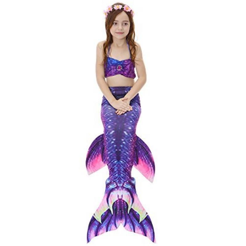 5e66dfbeb1 DAXIANG Fille 3pcs Nageoire de Sirene Maillots de bain Mermaid avec  Ailerons Bikini Ensembles de la marque DAXIANG