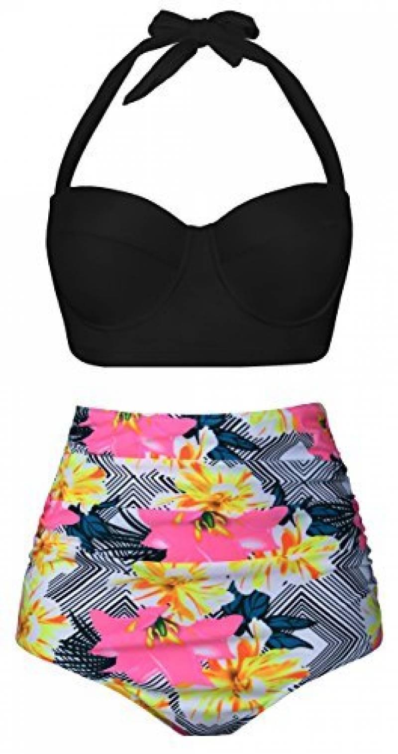 4869a39ed1 Notre sélection de maillot de bain vintage : Note Amazon. EasyMy Femmes  Vintage Polka Dot Taille Haute Maillot de Bain Bikini ...