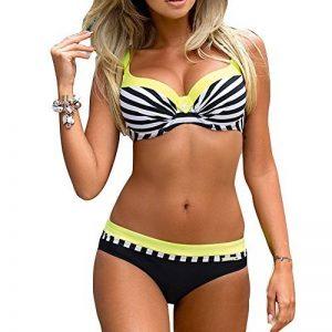 Femme Push Up Bikini Maillot de Bain Halterneck Rembourré Maillot de Natation Rayé 2 Pièce Tenue de Plage Juleya de la marque Juleya image 0 produit