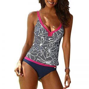 Femme Tankini, Boho Impriméing Maillot de Bain Push-up Minceur Tankini Maillot de Bain Sets Bikini Taille haute 2 Pieces Swimsuit Grandes Tailles de la marque juqilu image 0 produit