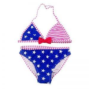 Fille Maillot de Bain A Rayé Deux Pièces Bikini à Bretelle Étoiles Tankini Vacances 8-16 Ans de la marque OMSLIFE image 0 produit