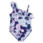 Freebily Une Épaule Maillot de Bain 1 pièce Bébé Fille Enfant Body Imprimé Floral Bikini à Volants Froufrous 2-8 Ans de la marque Freebily image 2 produit