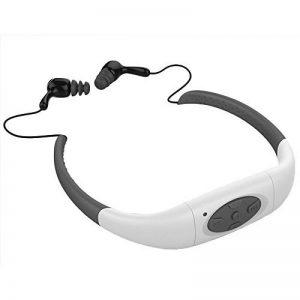 Hipipooo-8GB Mémoire étanche Sports Lecteur de musique MP3 Écouteur audio stéréo Collier sous-marin Natation Plongée avec microphone FM Casque(Blanc) de la marque image 0 produit