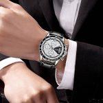 Homme Montres,LIGE Chronographe Étanche Militaire Sport Montres bracelet Bracelet En Cuir Cadran Blanc Mode Casual Quartz Analogique Montre Argent Blanc de la marque image 2 produit