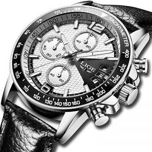 Homme Montres,LIGE Chronographe Étanche Militaire Sport Montres bracelet Bracelet En Cuir Cadran Blanc Mode Casual Quartz Analogique Montre Argent Blanc de la marque image 0 produit