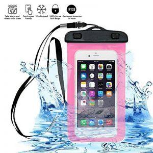 """Housse étanche Universal COOSA Etui Coque Case Pochette pour Samsung/HTC/Sony/Nokia-Tous les téléphones/tablettes/iPods Sac étanche Waterproof Sac PVC Transparent Noctilucent inférieure à 5.8"""" (Rose, 5-5.8 Inch) de la marque COOSA image 0 produit"""