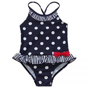 IINIIM Enfants Fille Bébé Bleu Maillots de bain une Pièce Barboteuse à pois Froufrous Bikinis 2-7 Ans de la marque iiniim image 0 produit