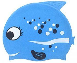 Kid Bonnet de bain, Fun, Lovely Pois en forme de poisson Dessin animé pour garçon et fille âgés de 2–9, étanche Cache-oreilles en silicone Bonnet de bain de la marque ranraner image 0 produit