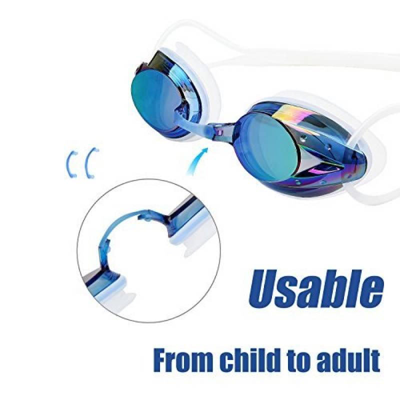 11699409a303aa Lunettes-Piscine-Natation-Enfant-Adulte-Femme-Homme-Fille Bleu Noir Argent  ou Rouge-Noir Competition Garcon 5 Ans 12 Junior Garçon Ado Elastique  Triathlon ...