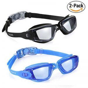 3f325ddf701abe Aegend Lunettes de natation, lunettes de natation en miroir sans fuite anti  brouillard protection UV Lunettes de natation de triathlon avec gratuit  Housse ...