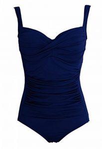 Maillot de bain 1 une pièce femme monokini - 4 couleurs - du 38 au 48 (42/44, Bleu marine) de la marque Rose Poudré image 0 produit