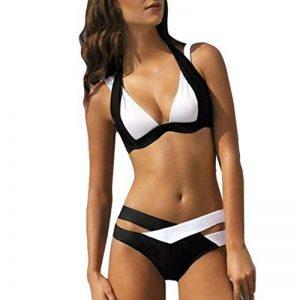 Maillot de bain pour Femmes, Toamen Bandage Deux couleurs Bikini Set Nager Plage Piscine (M, Noir) de la marque Toamen image 0 produit