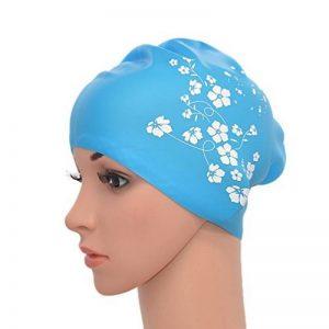 Medifier femmes élastique en silicone l'eau de piscine Bonnet de bain Bouchon d'oreille Wrap Chapeau pour cheveux longs adultes Sakura Print (Bleu ciel) de la marque image 0 produit
