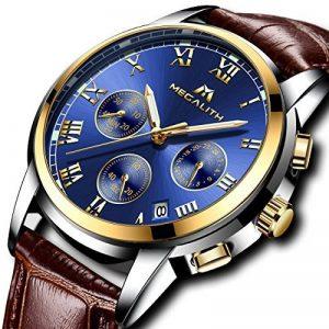 Montre Homme Montres Bracelet de Sport Etanche Chronographe Lumineuses Montre de Luxe en Cuir Marron Chronometre Calendrier de Date Analogique Quartz de la marque image 0 produit