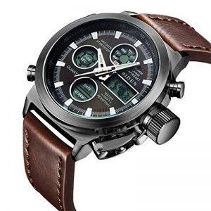 Montre,Montre Homme Sport Multifunction Digital LED Date Alarm Analogique Montre en Cuir Brun Marron de la marque image 0 produit