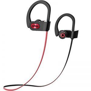 Mpow Écouteurs Sport Bleutooth 4.1 sans Fil, IPX7 Etanche Écouteurs Intra Auriculaires Oreillettes Bluetooth Casque Sport avec Microphone Anti-bruit,Lecteur Musique de 10 Heures pour iPhone,Apple,Smartphone,Androit,Samsung,iPod,Mp3 et plus -Rouge de la ma image 0 produit