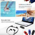 Omiu - Nouveau Baladeur MP3 étanche avec FM radio 4GO USB pour Sports Natation Surf SPA Plage, Piscine, Douche, Mer - Noir de la marque image 6 produit