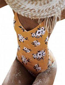 Pagacat Femme Maillot de bain Une Pièce Sexy Elégant Amincissant Push Up Ensemble de Bikini Swimwear Chic (jaune) de la marque Pagacat image 0 produit