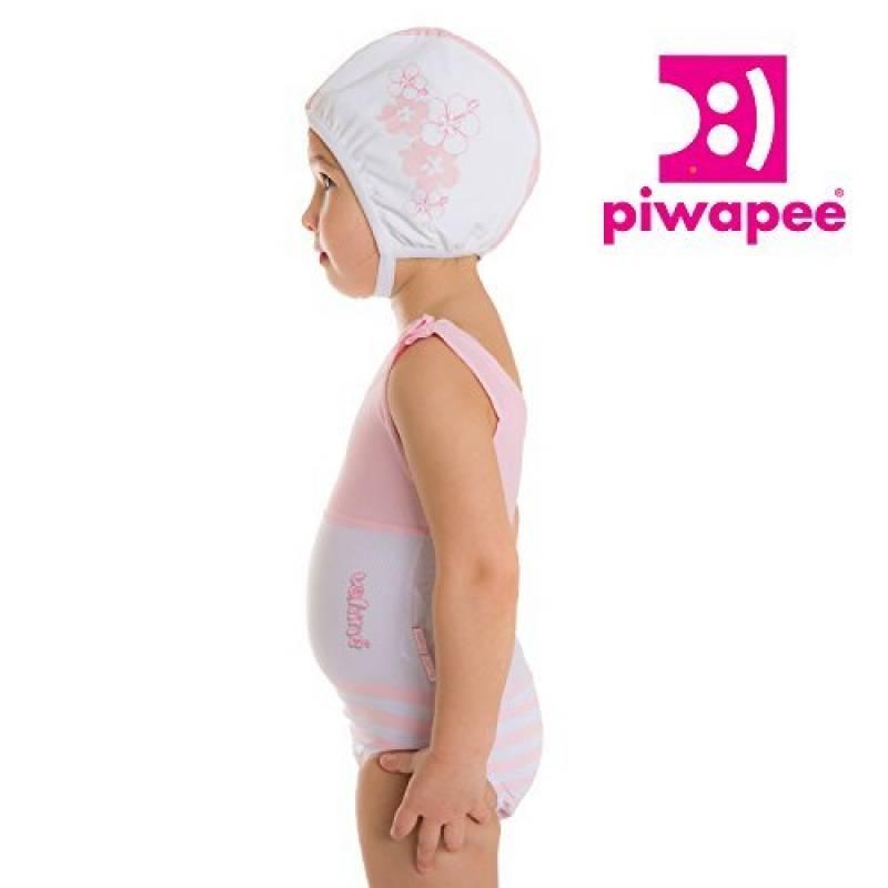 Piwapee - Bonnet de bain Bébé Nageur Rose poudré imprimé Vahiné (12-24M    TT49) de la marque b938e6d2157
