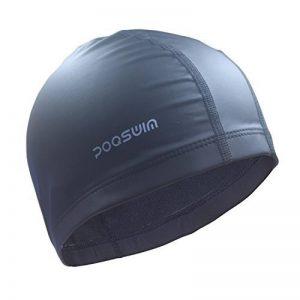poqswim Taille adulte Bonnet de bain en Lycra avec manteau PU Bonnet de bain pour cheveux longs Bonnet de natation de la marque image 0 produit