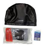 poqswim Taille adulte Bonnet de bain en Lycra avec manteau PU Bonnet de bain pour cheveux longs Bonnet de natation de la marque image 1 produit