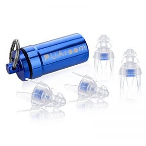 PUAroom MusicPro Soft Protection auditive Bouchons d'oreilles 2 paires avec bouteille pratique, idéal pour les musiciens, concert, festival, fête, batteur, DJ, voyage, moto, travail (Bleu) de la marque image 0 produit