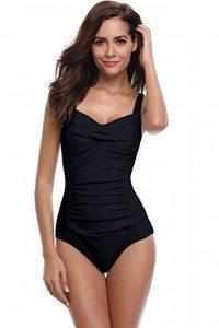 SHEKINI Bikini Femme Body Guide Push up Maillots de Bain Femme 1 Pièce  Monokini Rembourré Beachwear Ruché Effet Ventre Plat Triangle Halter  Réglable Sport ... 66a057032df2