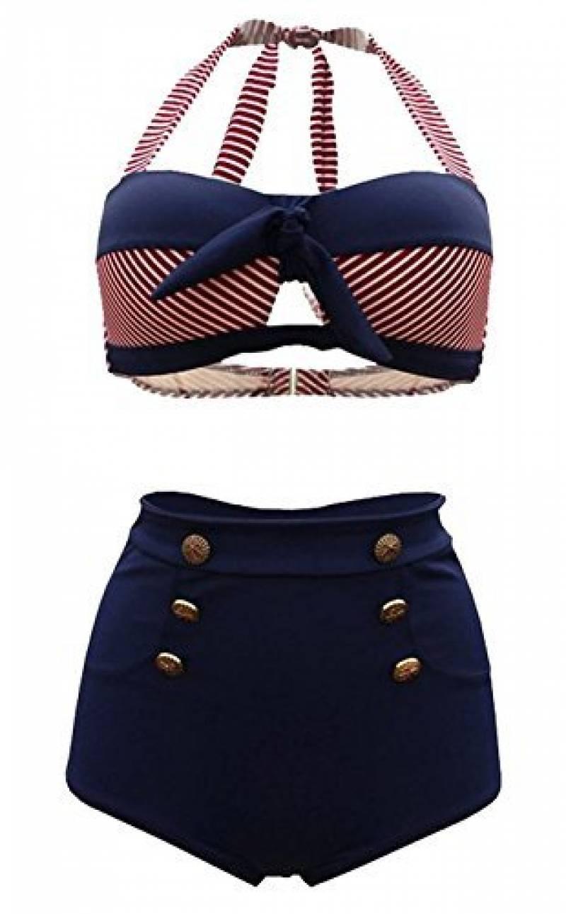 36977c9f21 Notre sélection de maillot de bain argenté : Note Amazon. Tailloday Vintage  Bikini Retro Femme 2 pieces Maillot de bain Taille haute ...