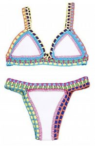 YARBAR Sexy Mixte Couleur Bikini Women Bra TRIANGL Néoprène Crochet Maillots de Bain (Large, Blanc) de la marque YarBar image 0 produit