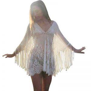 efee420261 Yogogo Femmes Bikini Cover Up Maillots De Bain Robe De Plage ÉTé Kimono  Dentelle Crochet T-Shirt Bustier ParéO Sarong Chemise Top Cardigan Blouse  Tunique de ...