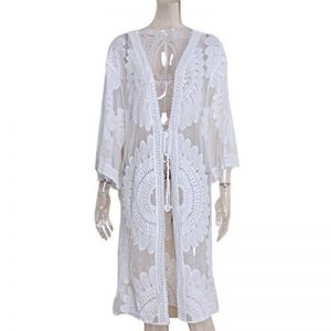 ZKOOO Femme Courte Manches Col O Gland Robes De Plage Bikini Maillots Chemisier Cover Up Sarong Pareo Beachwear Swimsuit Cover-up Grande Taille Blanc Sneakernews Bon Marché De Gros Faux Pas Cher 7NyHw4